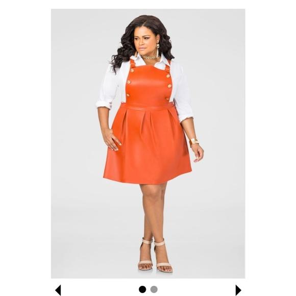 9723f3b6 Ashley Stewart Dresses   Faux Leather Overall Skater Dress   Poshmark